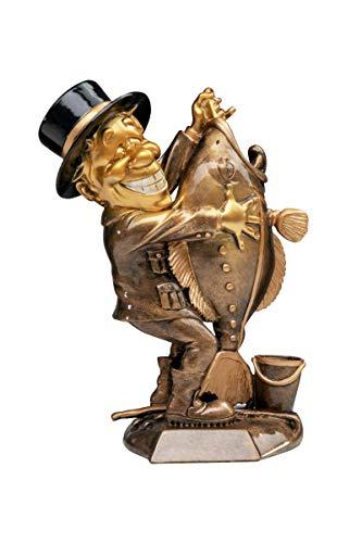 Henecka Angeln-Pokal, Angeln-Resinfigur Angler, altgold mit schwarz, mit Wunschgravur, Größe 29 cm