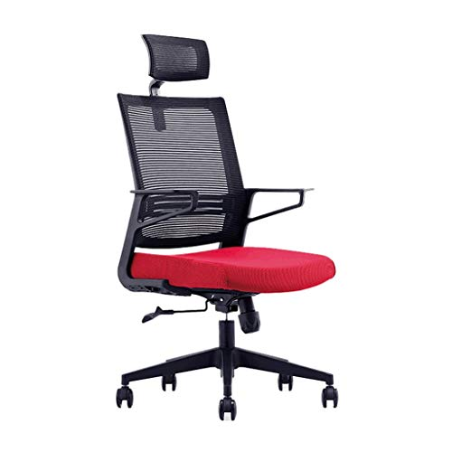 none_branded Ergonomische Netz-Bürostuhl, Heavy Duty Bürostuhl verstellbare Kopfstütze und Armlehne 360 ° Swivel Weichsitz Home Office Chair (Color : Red)