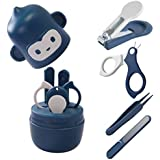 Socub Baby Nail Kit, Baby Nail Clipper, Scissor, Nail File, Tweezer, 4-in-1 Baby Grooming Kit Set for Newborn, Infant, Toddler, Blue
