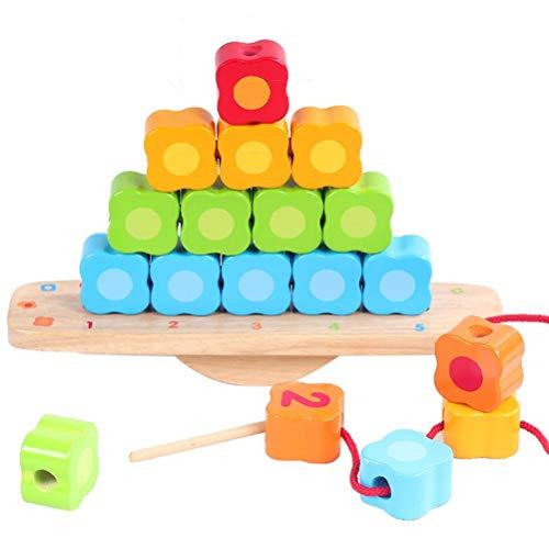 Desire Sky Giocattoli in legno Giochi,Smart Games for Kids Balance,Puzzle Game,Stacking Yoys,Perline di legno giocattolo per bambini Stacker educativo Building Blocks giocattolo di filettatura