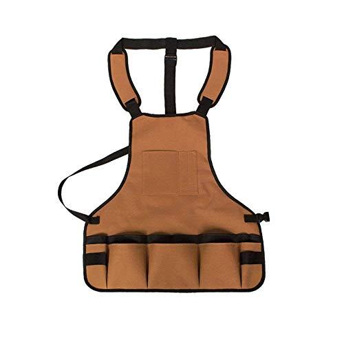 Yongenee Delantal de trabajo profesional con los bolsillos Durable a prueba de agua ajustable for herramientas de jardinería Delantal Woodshop delantales con las bolsas de la Hombres Mujeres Carpinter