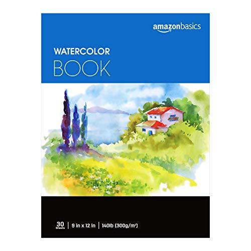 Amazon Basics Watercolor Pad, 9'x12', 140 lb. / 300 gsm, 30 Sheets