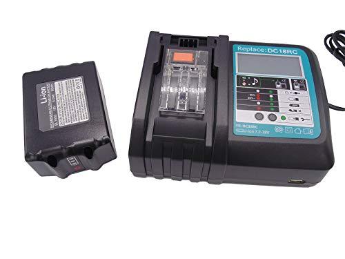 18V 3.0Ah Replacement Battery with Charger for Makita Grass Trimmer 18V DUR181Z DUR182LZ DUR 181 BUR181Z DUR364LZ DUR361UZ DUR365UZ Battery LG Cells