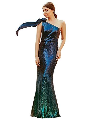 Ever-Pretty Vestito da Cerimonia Donna Una Spalla Sirena Gradiente Paillettes Lungo Verde Scuro 36