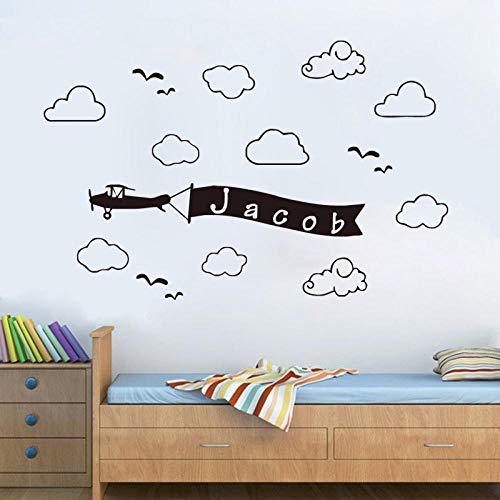 31x58 cm habitación de los niños nombre personalizado etiqueta de la pared calcomanía de vinilo extraíble nube plana arte decoración de la pared impermeable