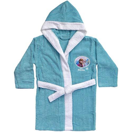 Albornoz con capucha para niña • Vestido de dormitorio terciopelo • Princesas Disney • Toalla Poncho (Frozen, 6-8 años)