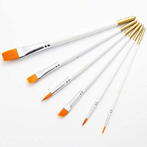 Artist Paint Brush Set,KANOSON 6pcs White Wooden Handle Artist Acrylic Paint Brush Set, Small Fine...