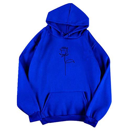 Sweat à capuche imprimé à la main rose pour femme à capuche automne à manches longues imprimé à manches longues O-Neck décontracté Adolescent Sweat-shirts à capuche - Bleu - S