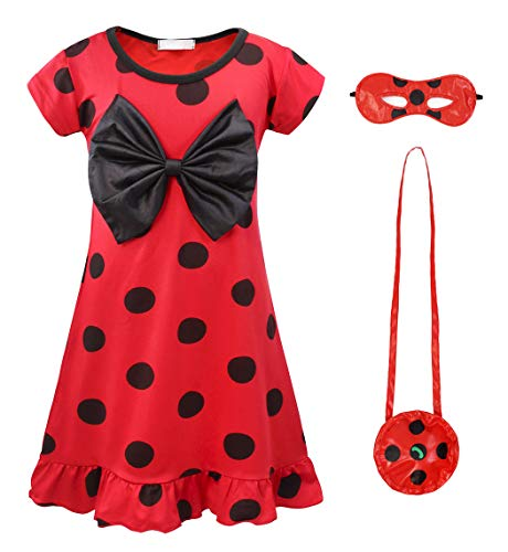 AmzBarley Girls Dot Dress Dresses for Fancy Party Dress up Clothes Costumes Kids Child Red Halloween Outfits Age 5-6 Years Size 6