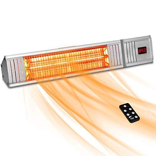 Patio Calentador, W / 3s-Fast Calefacción Control Remoto Infrarrojos Calentador W / 24h Temporizador Super Tranquila En La Pared Calentador de Espacios para Garaje, Al Aire Libre,1500w