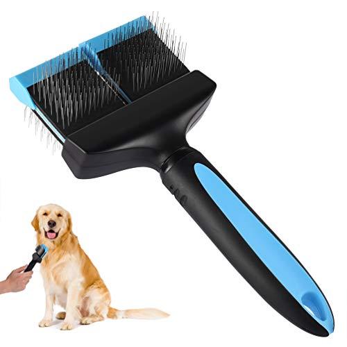 Petacc Hundebürste Langhaar Doppelseitige Hundesalonbürste Flexibler Hundebürste mit Rutschfestem Griff und Abgerundeten Gespitzten Stiften für Langhaarige Haustiere