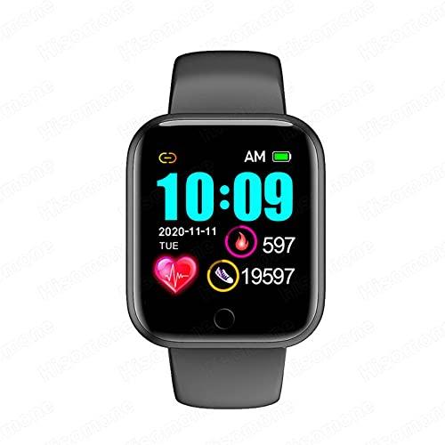 HJYBYJ Smart Watch Menor Y Mujer Reloj Deportivo Reloj De Pulsera Pulsera De Aptitud Pulsera Tracker Monitoreo De Audición (Color : Black)