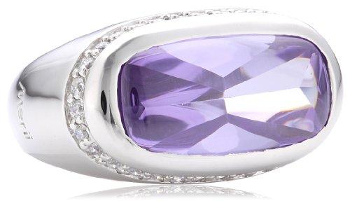Merii Damen-Ring 925 Sterlingsilber rhodiniert Zirkonia violett Gr. 52 (16.6) M0513R/90/73/52