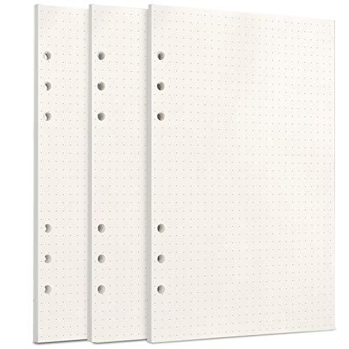 Toplive A5 Papier, [3 Packungen] 100GSM Dickes Nachfüllpapier 6 Löcher Nachfülleinlagen Loose Notizpapier A5 Refill Paper 135 Blätter (270 Seiten) für 6 Ring Binder Notizbuch, Gepunktet Papier