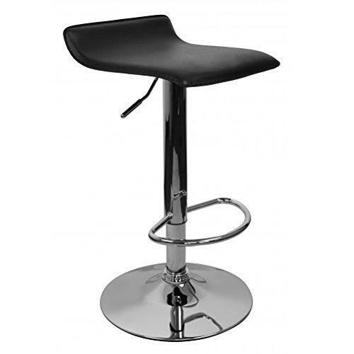 AMSTYLE, Ibiza, barkruk, bekleding kunstleer, zwart, in hoogte verstelbaar, design barstoel zonder rugleuning, chroom, 110 kg, zonder wielen