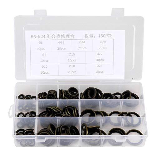 AllRight 150 tlg Dichtungsringe Set O Ring Sortiment Hydraulik mit Gummilippe Spezial Öl- Benzin- und Säurebeständig M6 M8 M10 M12 M14 M16 M18 M20 M22 M24