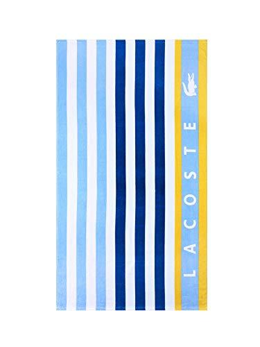 Lacoste Boardwalk Strandtuch, 100% Baumwolle, 91,4 cm B x 183,9 cm L, gestreift, Blau/Weiß