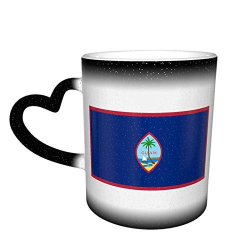 Taza que cambia de color de la bandera nacional de GUAM Gran diseño de taza de café Taza de cerámica sensible al calor, 11 oz