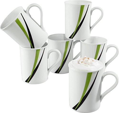 Gepolana Kaffeebecher im 6er-Pack Porzellan - spülmaschinengeeignet, mikrowellengeeignet - für 6 Personen
