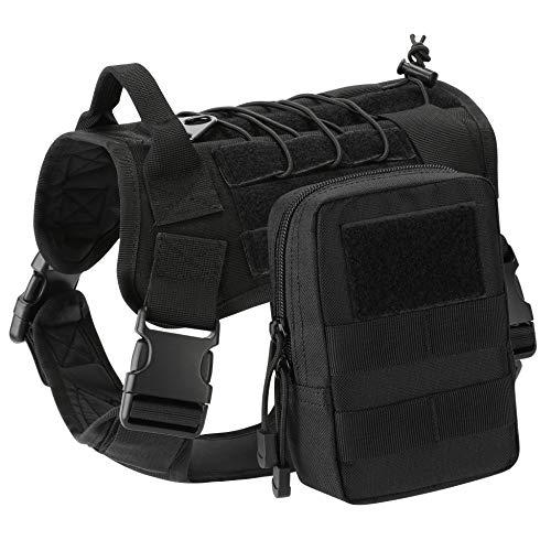 Gonex Taktisches Hundegeschirr Hundeweste Weste mit Tragegriff und abnehmbaren Taschen für größe/mittelgroße Hunde militärische Training Haustier