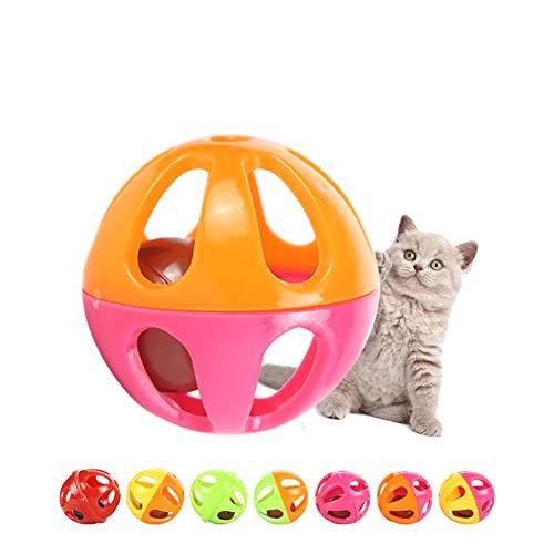 YQQY 10 Paquetes Juguete De Gato Plastico Campana Bola Hueca Gatito InteraccióN Colorear Bola De Gato Y Campana Juguete para Mascotas (Colores Al Azar)