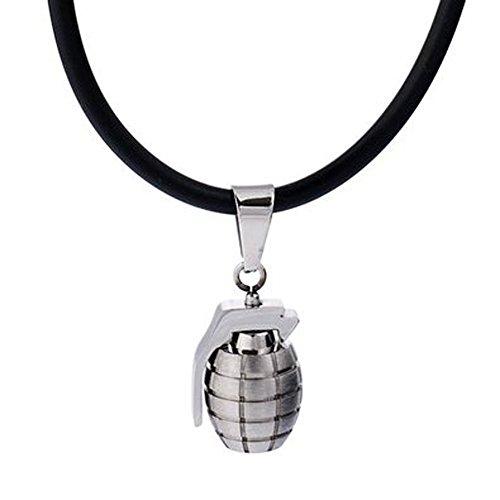 DonDon Herren Lederkette Leder Halskette 50 cm mit Edelstahl Anhänger Handgranate