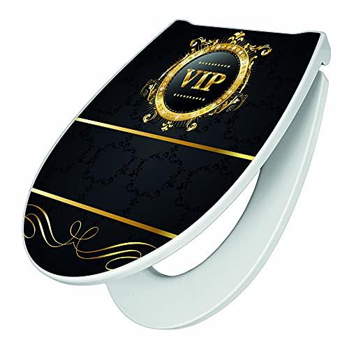 banjado Premium WC-Sitz mit Softclose Absenkautomatik   hygienischer Toilettendeckel mit Edelstahl Scharnier   Design Klobrille Duroplast Top Qualität mit Motiv VIP