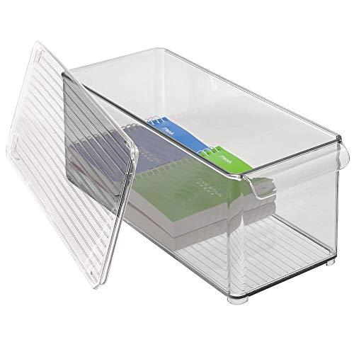 mDesign Aufbewahrungsbehälter aus Kunststoff, Deckel für Zuhause, Büro, Arbeitsplatz, 4 Stück, transparent / rauchfarben Rauchgrau/Transparent