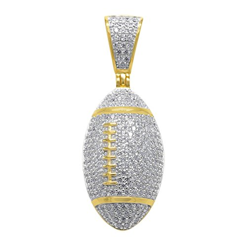 925 Sterling Silber Micro Pave Anhänger - FOOTBALL gold
