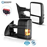 ECCPP Towing Mirrors Replacement fit for 2008-2016 for Ford F250 F350 F450 F550 Super Duty Black Manual Led Turn Signal Lights Pair Mirrors