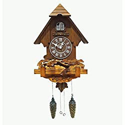 Polaris Clocks Cuckoo Clock with Automatic Night Mode Option and Wooden Decorations (The Forest)