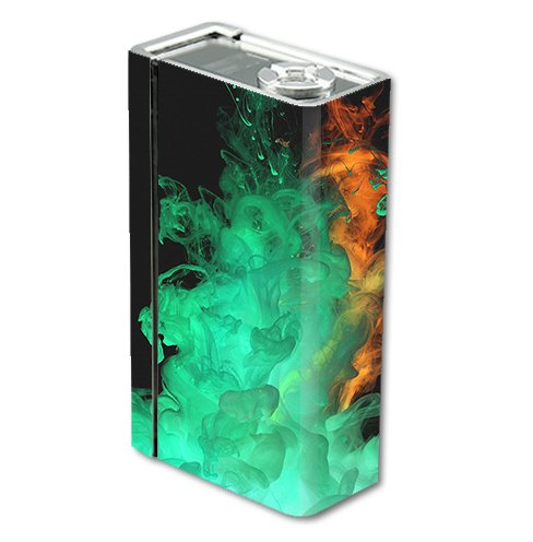Skin Decal Vinyl Wrap for Smok Xcube 2 BT50 Vape Mod Box / Orange Green Smoke
