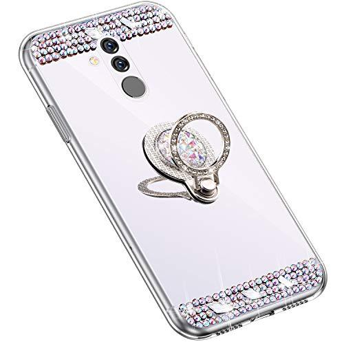 Uposao Kompatibel mit Huawei Mate 20 Lite Hülle mit 360 Grad Ring Ständer Glänzend Glitzer Strass Diamant Transparent TPU Silikon Handyhülle Ultra Dünn Durchsichtig Schutzhülle Case,Silber