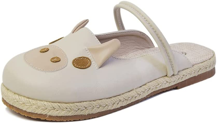 HOTRA Summer Baotou Sandals Female Japanese Style, Flat-Bottomed Cartoon Pig One-Word Buckle Strap, Two-wear Sandals and Slippers Cute Lolita Shoes (Color : Off-White, Size : 35EUR)