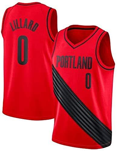 Hombres Jersey - NBA Damian Lillard # 0 Trail Blazers de Portland Cosido Alero Jersey Jerseys del Baloncesto (Color : Red, Size : L (175-180cm))