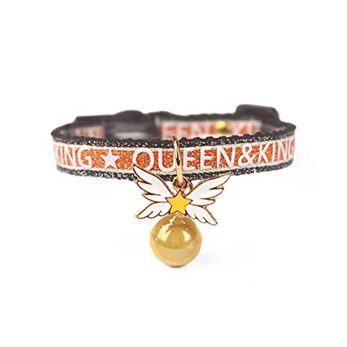 YHX Collar de Hebilla de Seguridad para Gatos, Collar de Campana de alas de Sakura, Collar pequeño de Viento Deportivo