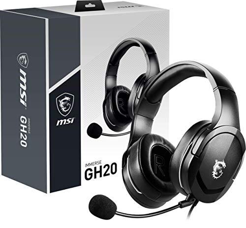 MSI IMMERSE GH20 - Auriculares Gaming con micrófono (compatibilidad multiplataforma, 40 mm neodimio Altavoz, Trenzado Cable, Conector de Audio de 3.5 mm) Negro