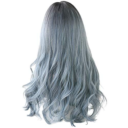 Liseng Perruque longue mélangée pour cheveux synthétiques Bleu