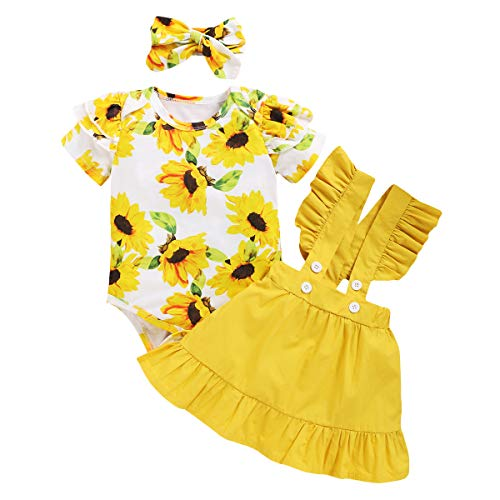 Bonfor 3 Piezas Conjunto Ropa Bebe Niña 0-3 Meses Verano Vestidos Algodon Mono de Floral + Falda de Tirantes + Banda de Pelo para 0-18 Meses Recien Nacido Niño (Amarillo, 12-18 Meses)
