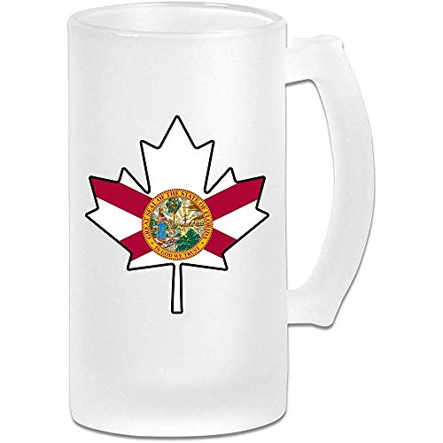 Florida Flag Canada Maple Leaf Frosted Glass Stein Beer Mug - Taza de pub personalizada personalizada - Regalo para su bebedor de cerveza favorito