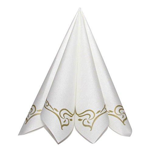 Shoptoria Servietten Color Line Gold mit musterrand Ornament Tischdeko Hochzeitsdeko Servietten Falten 50Stk 40x40cm