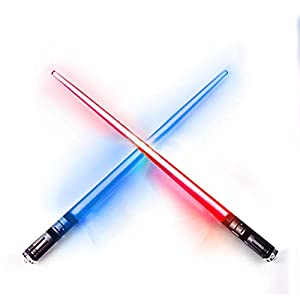LIGHTSABER CHOPSTICKS LIGHT UP STAR WARS LED Glowing Light Saber Chop Sticks REUSABLE Sushi Lightup Sabers Bright LEDs 8 Color Modes - 1 Pair