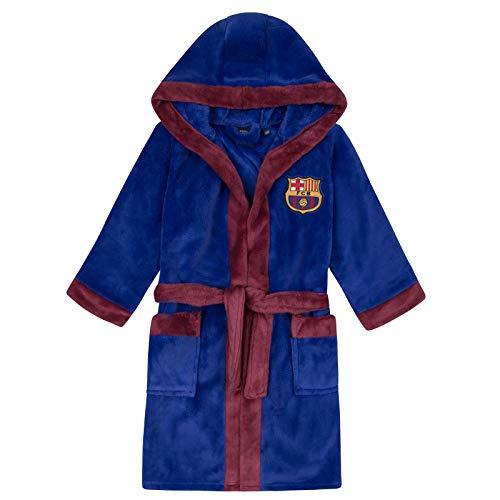 FC Barcelona - Batín Oficial con Capucha - para niño - Forro Polar - Azul añil - 11-12 años