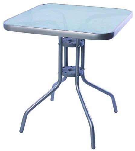 Mojawo Bistrotisch mit Glasplatte und Metallgestell pulverbeschichtet Eckig 60x60x70cm Silberfarben Balkontisch Gartentisch Glastisch