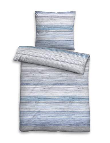 biberna 0076743 Bettwäsche Garnitur mit Kopfkissenbezug Baumwoll-Single-Jersey 1x 135x200 cm + 1x 80x80 cm eisblau