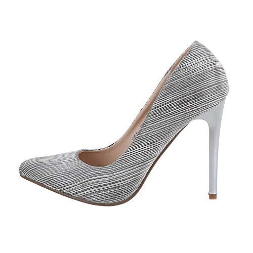 Ital-Design Damenschuhe Pumps High Heel Pumps Synthetik Beige Silber Gr. 38