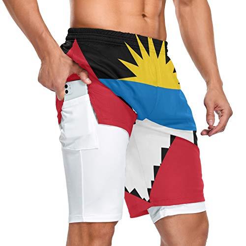 Antigua y Barbuda - Pantalones cortos deportivos para hombre, 2 en 1, con bolsillos