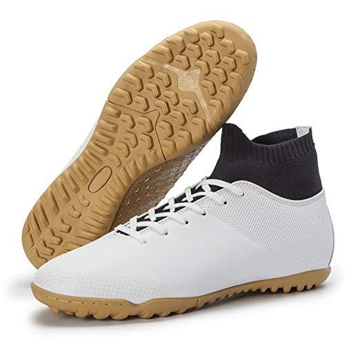 Fußball-Schuhe Klampen Hoch-Spitze-Socken-Knöchel Pflegeleistung Fußball-Bügel-Schuhe Boden im Freien - Indoor-Fußball-Schuhe Hohe Spitzen,Weiß,46