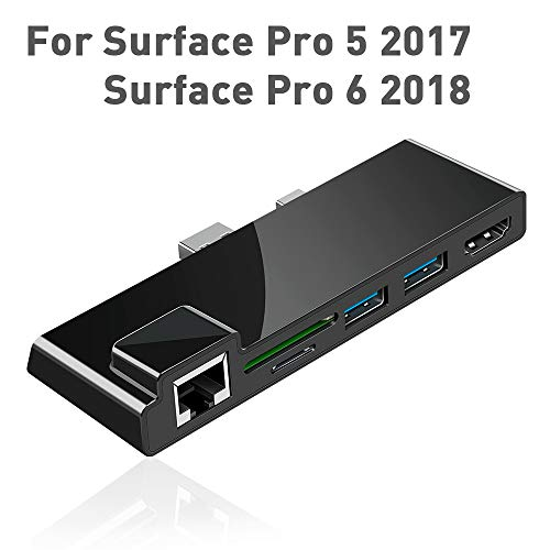 Draagbaar dock voor Surface Pro 5/6 USB-hub dockingstation met 1000M Ethernet-poort, 4K HDMI, 2 x USB 3.0-poorten, SD / Micro SD-kaartlezer, LAN-adapter voor de 5th / 6th-gen Surface Pro 2017/2018