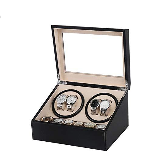 Caja de Almacenamiento de Reloj Winding Caja de reloj Shake Tabla reloj mecánico se sacuden dispositivo Caja de reloj de la cabeza del doble de la PU Negro Motor eléctrico caja automática con Comparti
